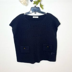 See by Chloe Open Knit Short Sleeve Boxy Sweater